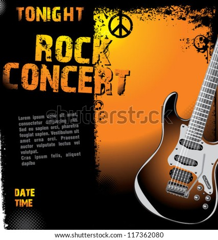 Rock concert design template - stock vector