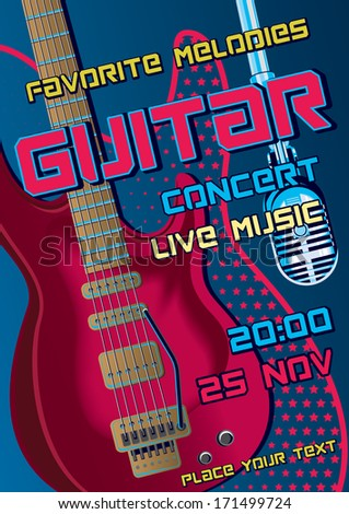 Rock concert design template with guitar, microphone - stock vector