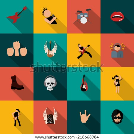 Rock concert festival music party flat icons isolated vector illustration - stock vector