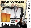 Rock concert free beer - stock vector