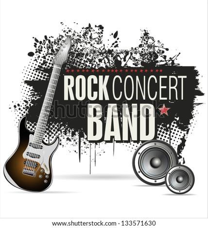 Rock concert grunge banner - stock vector