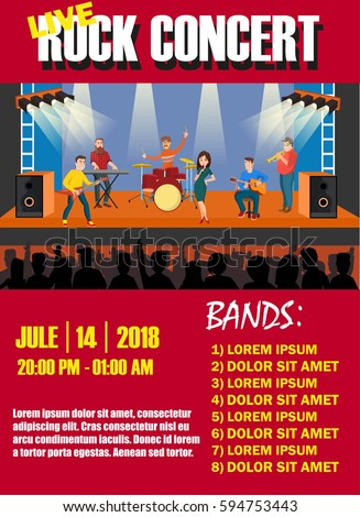 rock concert invitation festive design poster template background with rock band on the