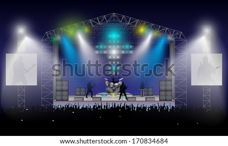 Rock concert. Musicians silhouettes: Rhythm and solo guitar, bass guitarist, drummer and girl at keyboards. Open air. Excited crowd under stage. Night blue sky. - stock vector
