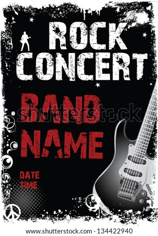 Rock concert poster - stock vector