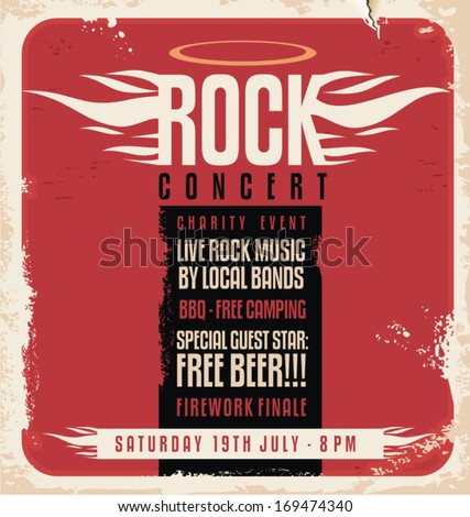 Rock concert retro poster design template on old paper texture. - stock vector