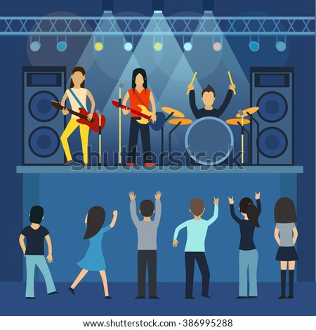Rock concert vector, guitar and musician, musical instrument, sound and performance, stage and guitarist. Rock concert flat vector illustration. Rock concert singing and dancing, young people - stock vector