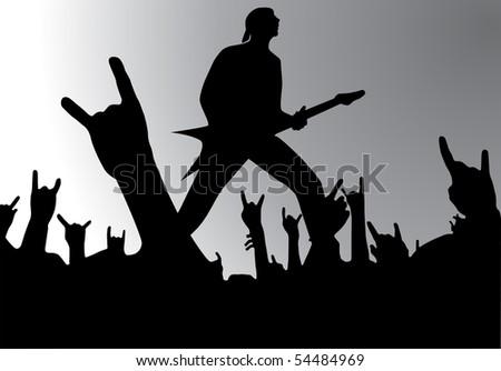 Rock concert, vector illustration - stock vector