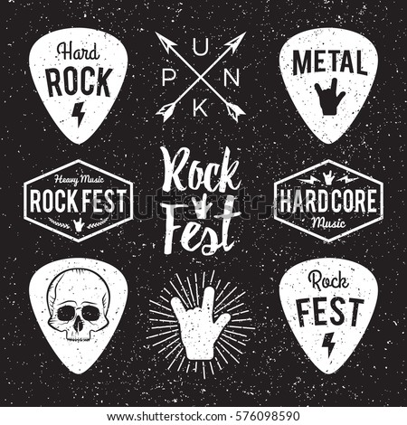 Rock fest badge/Label grunge vector set. For band signage, prints and stamps. Black festival hipster logo with guitars, skull and hand
