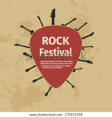 Rock festival banner with guitars and plectrum, vector illustration - stock vector