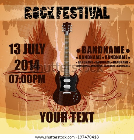 Rock festival design template with electric guitar and place for your text - stock vector