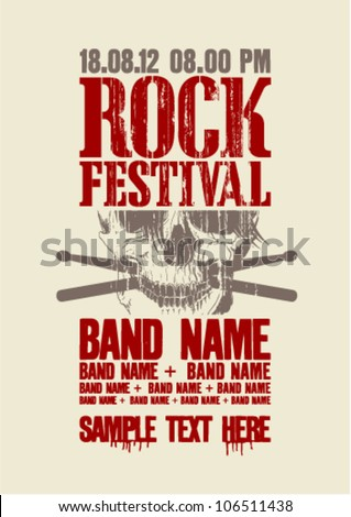 Rock festival design template with scull and place for text. - stock vector