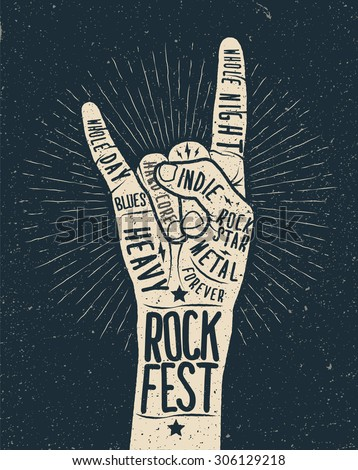 Rock festival poster, flyer. Vector hand draw styled illustration. - stock vector