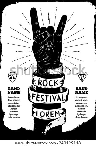 Rock festival poster. Rock and Roll hand sign - stock vector