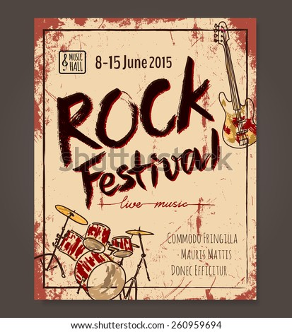 Rock festival poster template. Hand drawn Vector design - stock vector