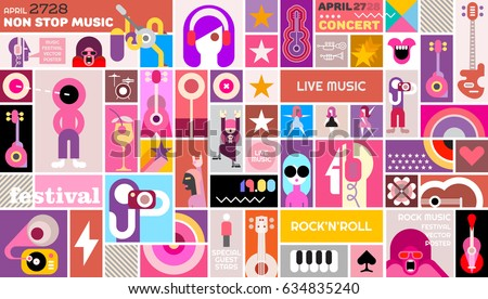 Rock Festival Poster Vector Template Design Art Collage Of Many Different Pictures