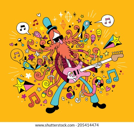 rock guitarist cartoon illustration - stock vector