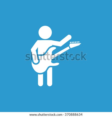 rock guitarist Icon Vector. rock guitarist Icon Art. rock guitarist Icon Picture. rock guitarist Icon. guitarist Icon logo. rock guitarist Icon Flat. rock guitarist Icon design, on blue background - stock vector