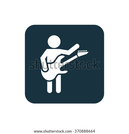 rock guitarist Icon Vector. rock guitarist Icon Art. rock guitarist Icon Picture. rock guitarist Icon. guitarist Icon logo. rock guitarist Icon Flat. rock guitarist Icon design, on white background - stock vector