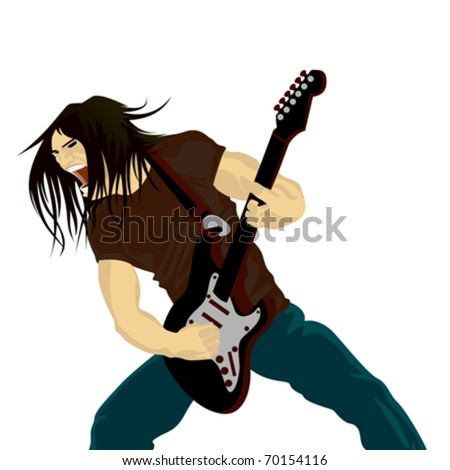 rock guitarist playing on electric guitar