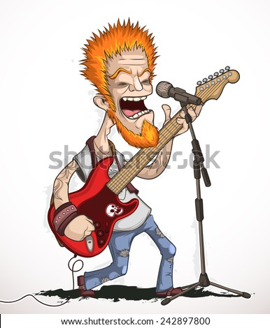 Rock guitarist with a solo guitar and singing into a microphone - stock vector
