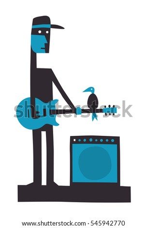 Rock guitarist with amplifier, cartoon vector illustration on white