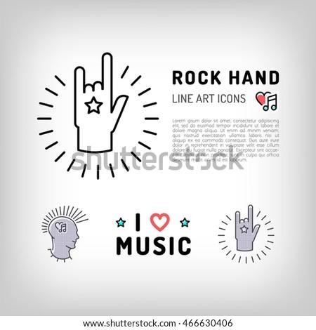Rock Hand Sign Punk Rock Music Stock Vector 466630406 Shutterstock