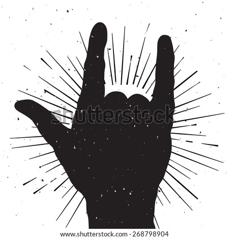 Rock hand sign silhouette, grunge template for your slogan, text or announcement - stock vector