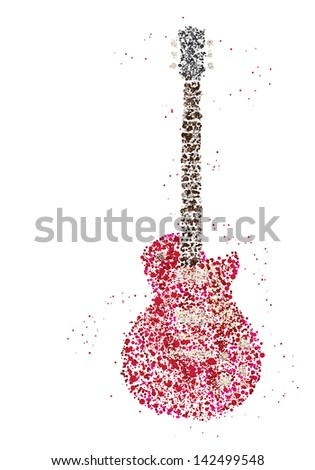 Rock Music, electric guitar made with circles for poster design - stock vector