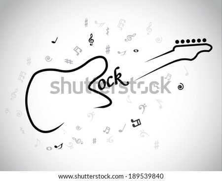 Rock Music electric guitar musical notes concept & red heart. An electrical guitar symbol with Rock text and music notes around it - illustration artwork - stock vector