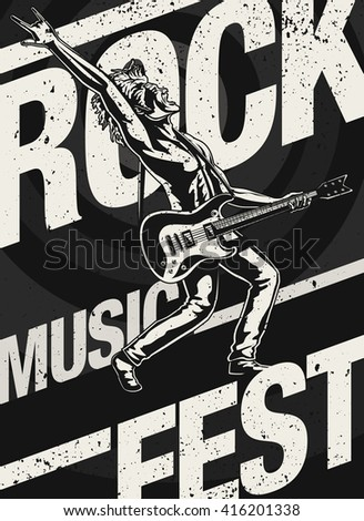 Rock Music Fest/ Festival Poster featuring a Rock Guitarist/ Singer playing an Electric Guitar while singing. - stock vector