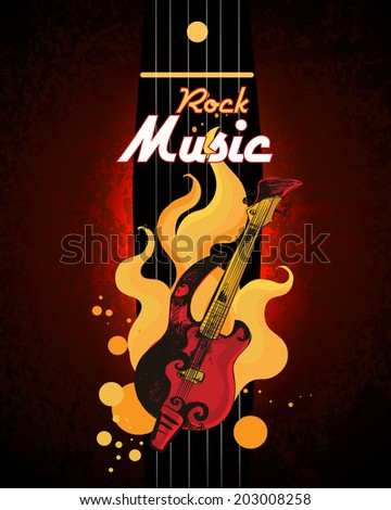 Rock music guitar in fire grunge colored retro sketch poster with drum set vector illustration