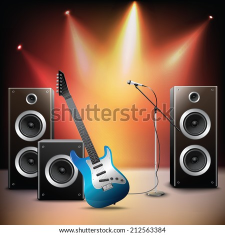 Rock music illuminated stage background with microphone electric guitar and speakers vector illustration. - stock vector