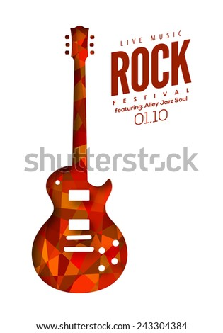 Rock music, poster background template. Vector isolated electric guitar illustration for graphic design. Shadows can be turned off for a flat decorated guitar. - stock vector