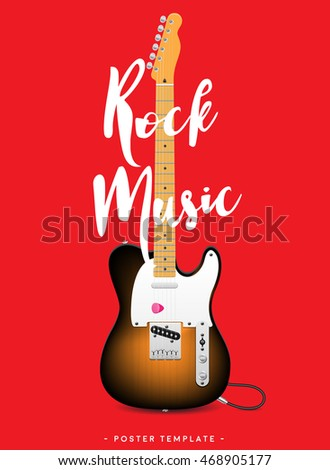 Rock music poster design template. Realistic electric guitar on red background. Great for bands, logos, concerts and festivals. Vector illustration.