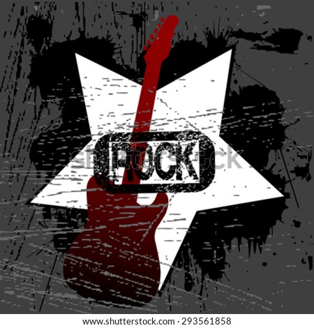 Rock music poster template with guitar - stock vector