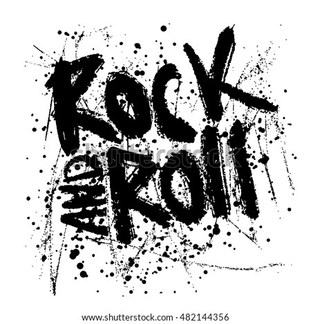 Rock music print hipster vintage label stock vector for T shirt printing design online