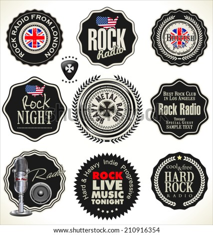 Rock music retro labels - stock vector