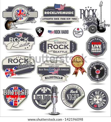 Rock music stamps and labels - stock vector