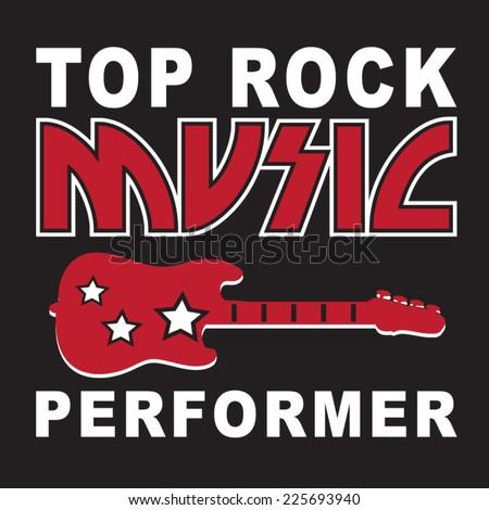 Rock Music typography, t-shirt graphics, vectors - stock vector