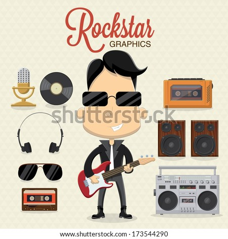 Rock musician character with electric guitar and icons - stock vector