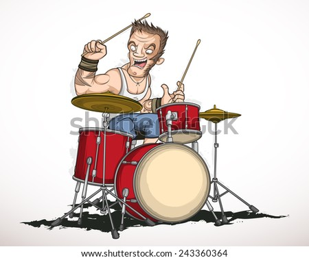 Rock musician drummer famously plays the drums - stock vector