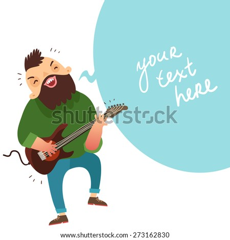 Rock musician playing bass guitar and bubble for text. Background for rock concert poster or other music event. Vector colorful illustration in flat style  - stock vector