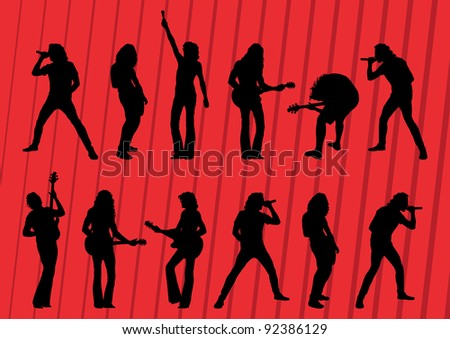 Rock musicians silhouettes illustration collection background vector - stock vector