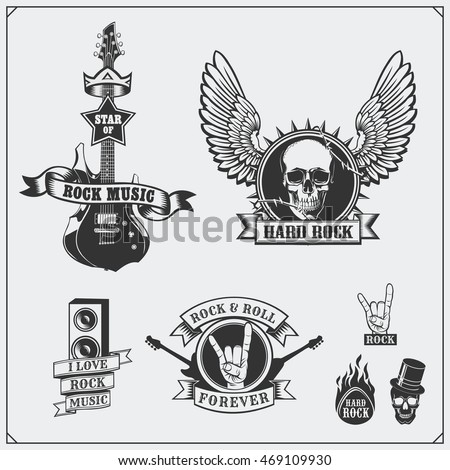 Rockn Roll Music Symbols Labels Logos Design Stock Photo Photo