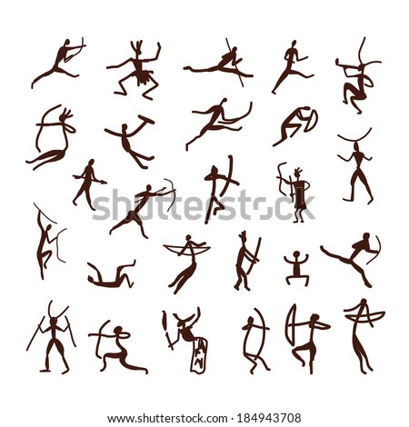 Rock paintings, ethnic people sketch for your design - stock vector