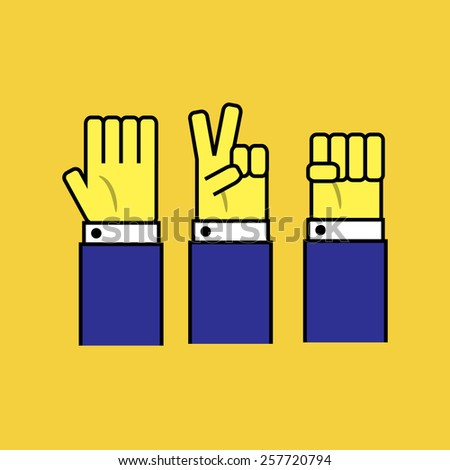 Rock, paper and scissors. - stock vector