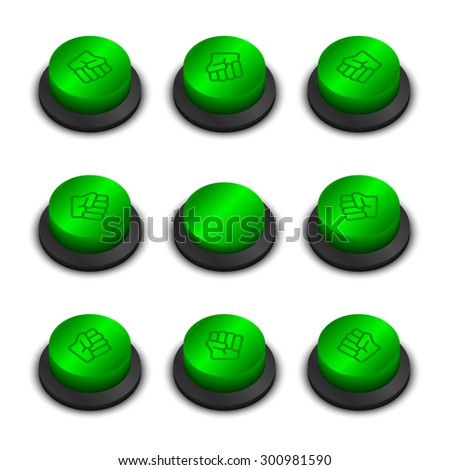 Rock-paper-scissors buttons green color on white background with shadow - stock vector