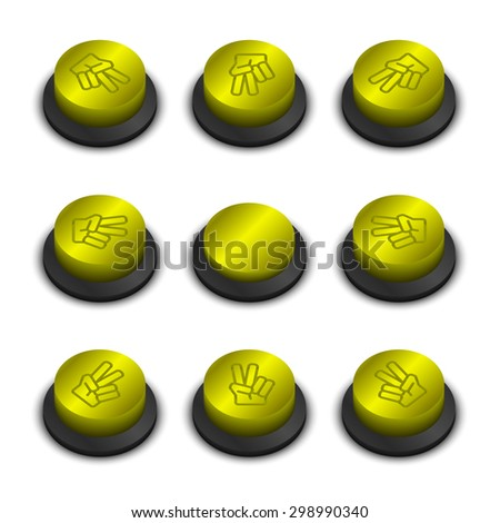 Rock-paper-scissors buttons yellow color on white background with shadow - stock vector
