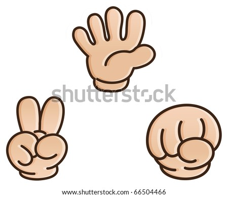 Rock-paper-scissors game - stock vector