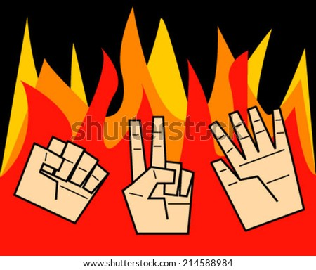 Rock, paper, scissors in fire, vector illustration - stock vector